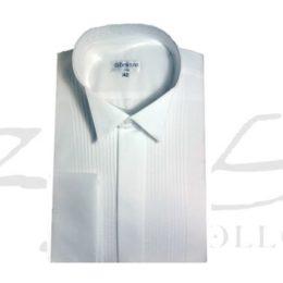 Camisa cuello palomita plisada p/gemelos